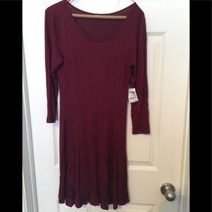 Burgundy Long sleeve dress